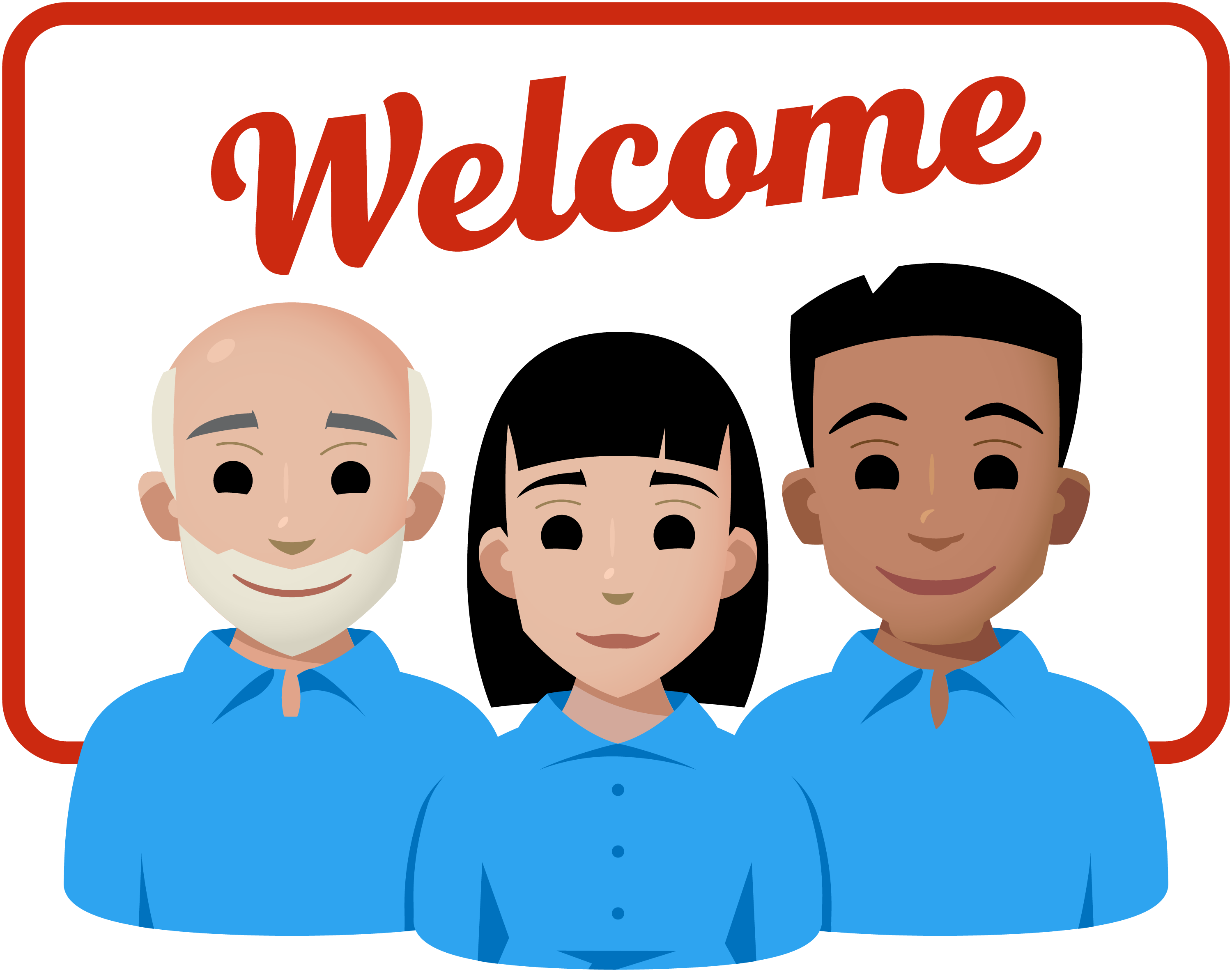 A welcome message above three line art people with blue shirts